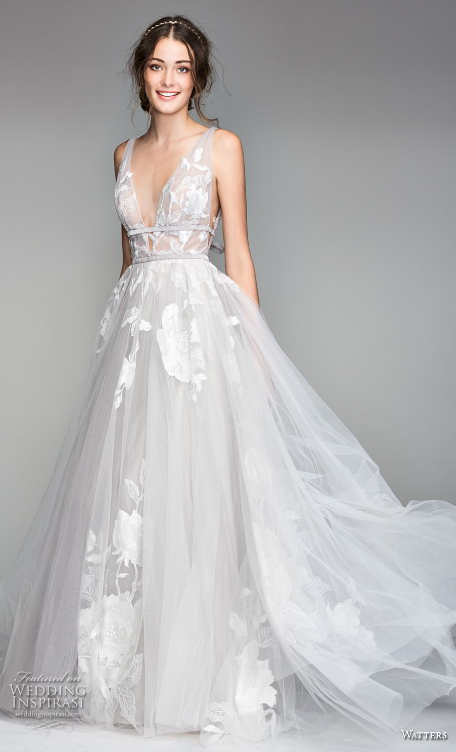 willow by watters spring 2018 sleeveless deep v neck heavily embellished bodice romantic soft a  line wedding dress v back sweep train (1) mv