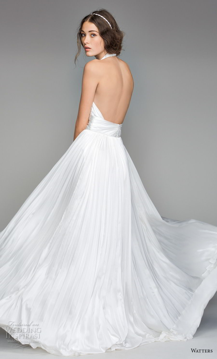 willow by watters spring 2018 sleeveless deep v neck ruched bodice romantic sexy soft a  line wedding dress open back sweep train (7) bv