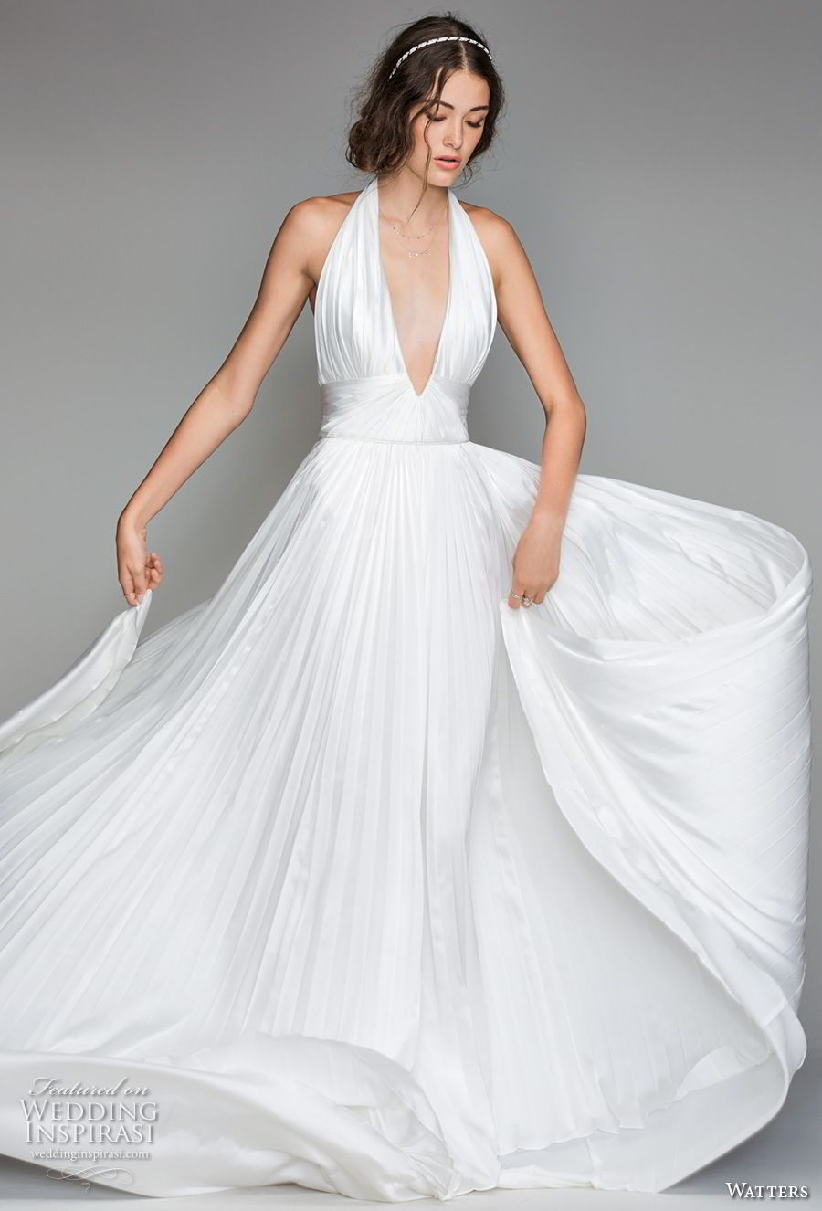 willow by watters spring 2018 sleeveless deep v neck ruched bodice romantic sexy soft a  line wedding dress open back sweep train (7) mv