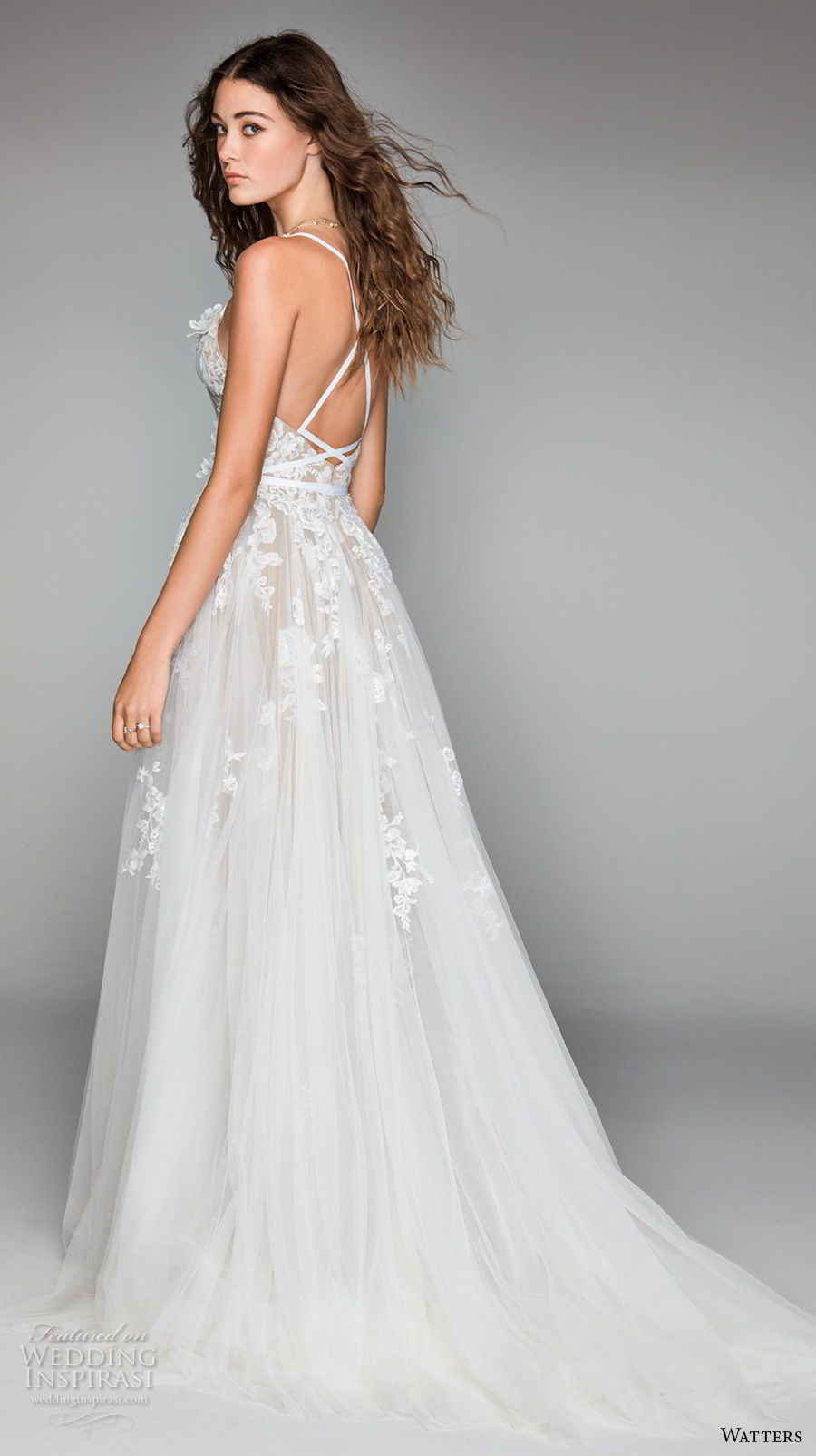 willow by watters spring 2018 sleeveless spaghetti strap semi sweetheart neckline full embellishment romantic soft a  line wedding dress cross strap back chapel train (13) bv