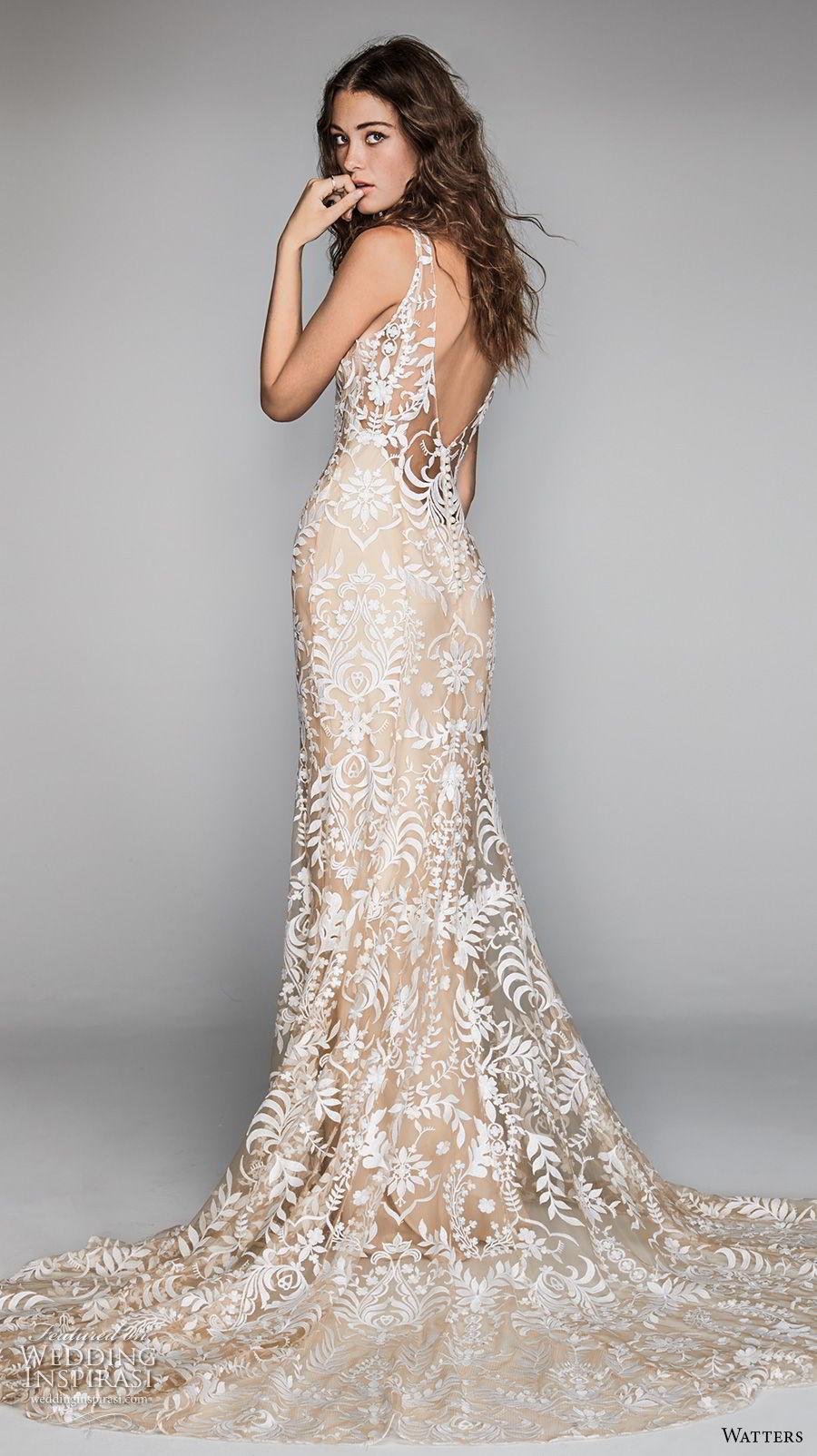 willow by watters spring 2018 sleeveless v neck full embellishment elegant glamorous ivory modified a  line wedding dress v back chapel train (2) bv