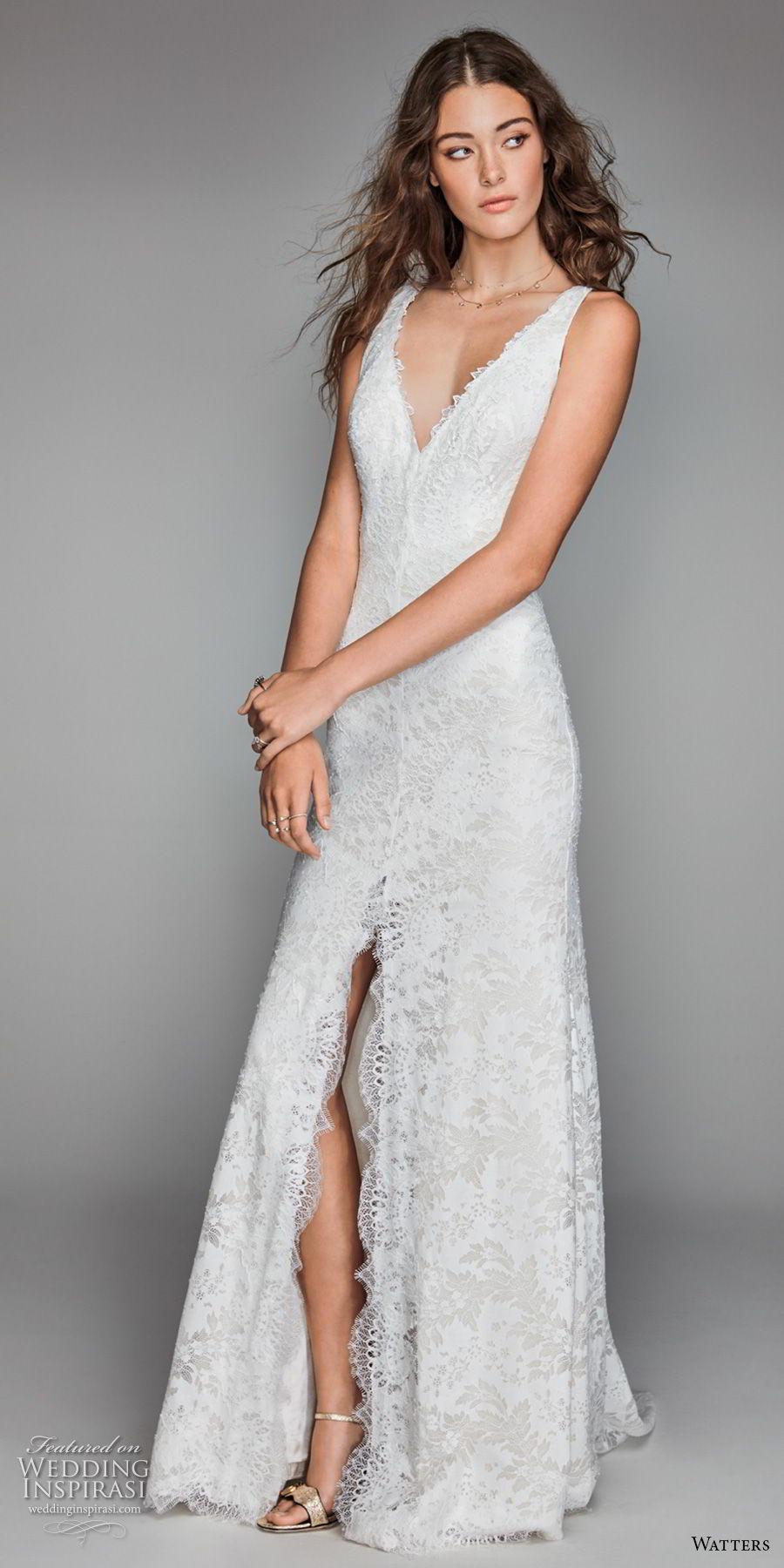 willow by watters spring 2018 sleeveless v neck full embellishment middle slit elegant sheath wedding dress keyhole back sweep train (15) mv