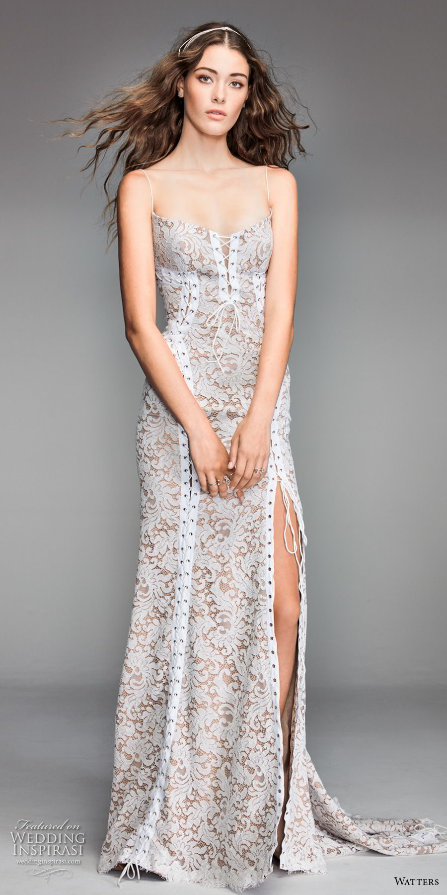 willow by watters spring 2018 spaghetti strap square neckline full embellishment side slit elegant sheath wedding dress open back sweep train (11) mv
