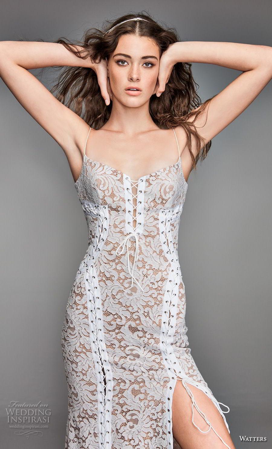 willow by watters spring 2018 spaghetti strap square neckline full embellishment side slit elegant sheath wedding dress open back sweep train (11) zv