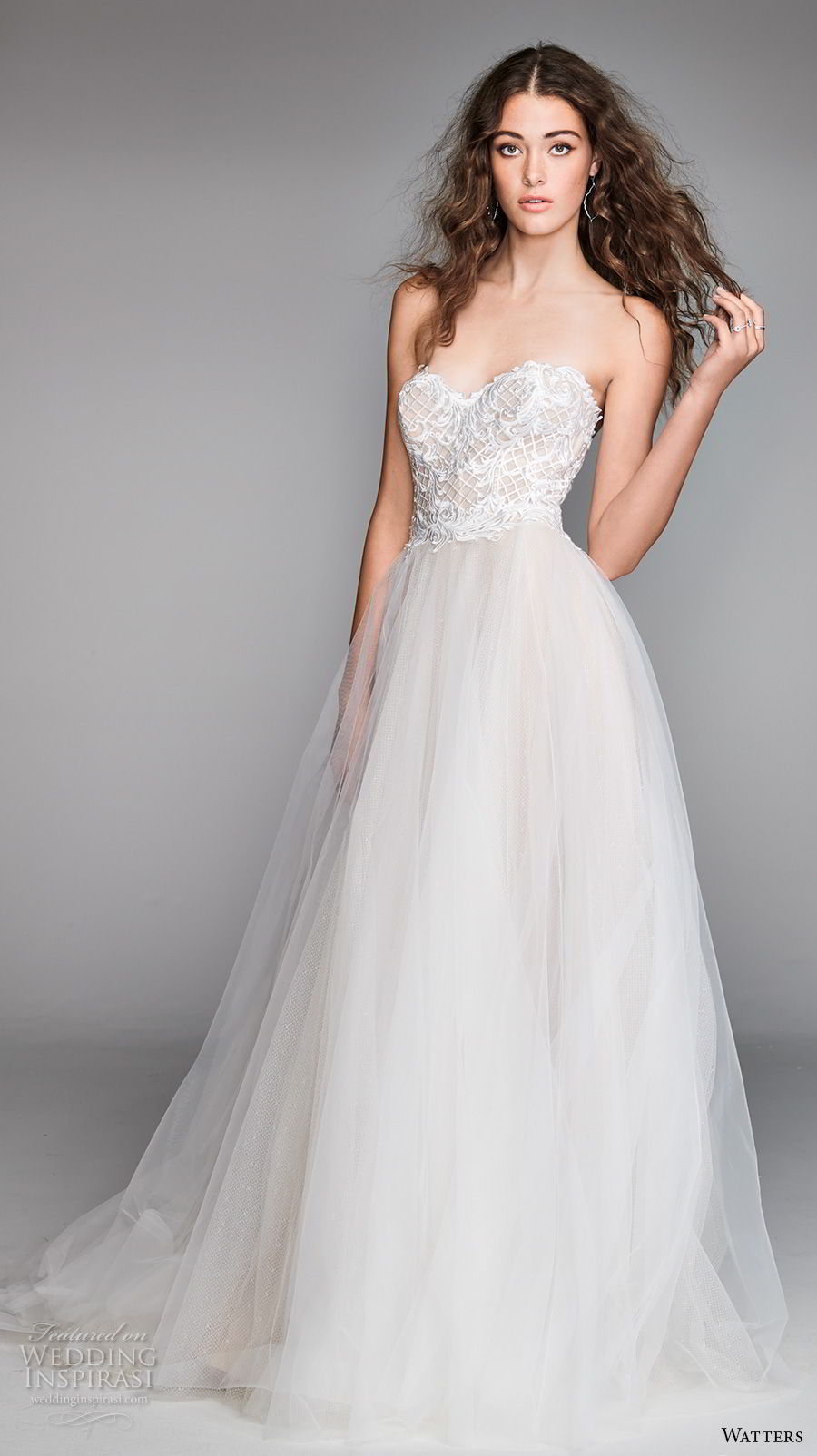 willow by watters spring 2018 strapless sweetheart neckline  heavily embellished bodice tulle skirt romantic a  line wedding dress sweep train (17) mv