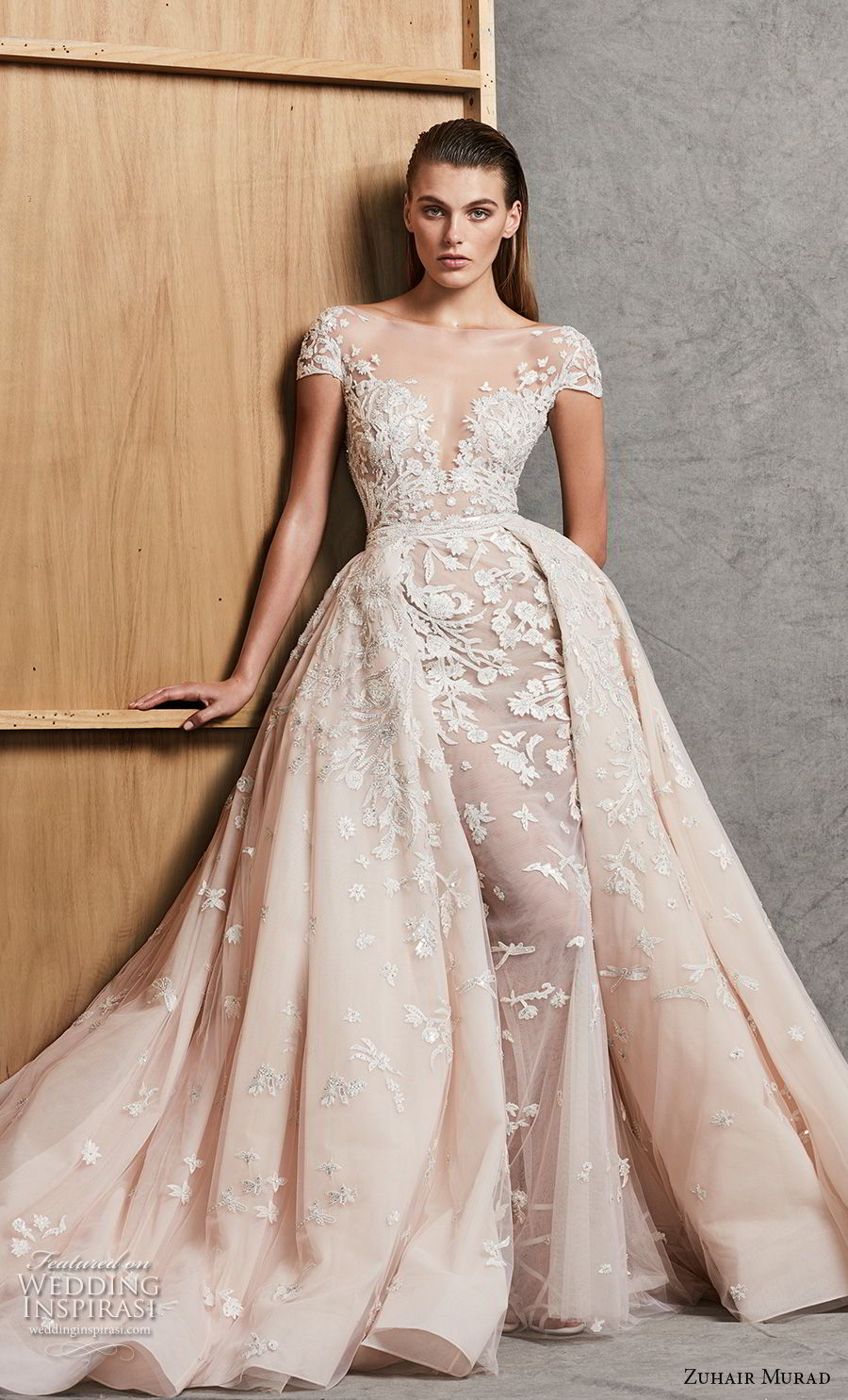 zuhair murad fall 2018 bridal cap sleeves illusion deep sweetheart neckline romantic princess blush fit and flare wedding dress a line overskirt chapel train (15) mv