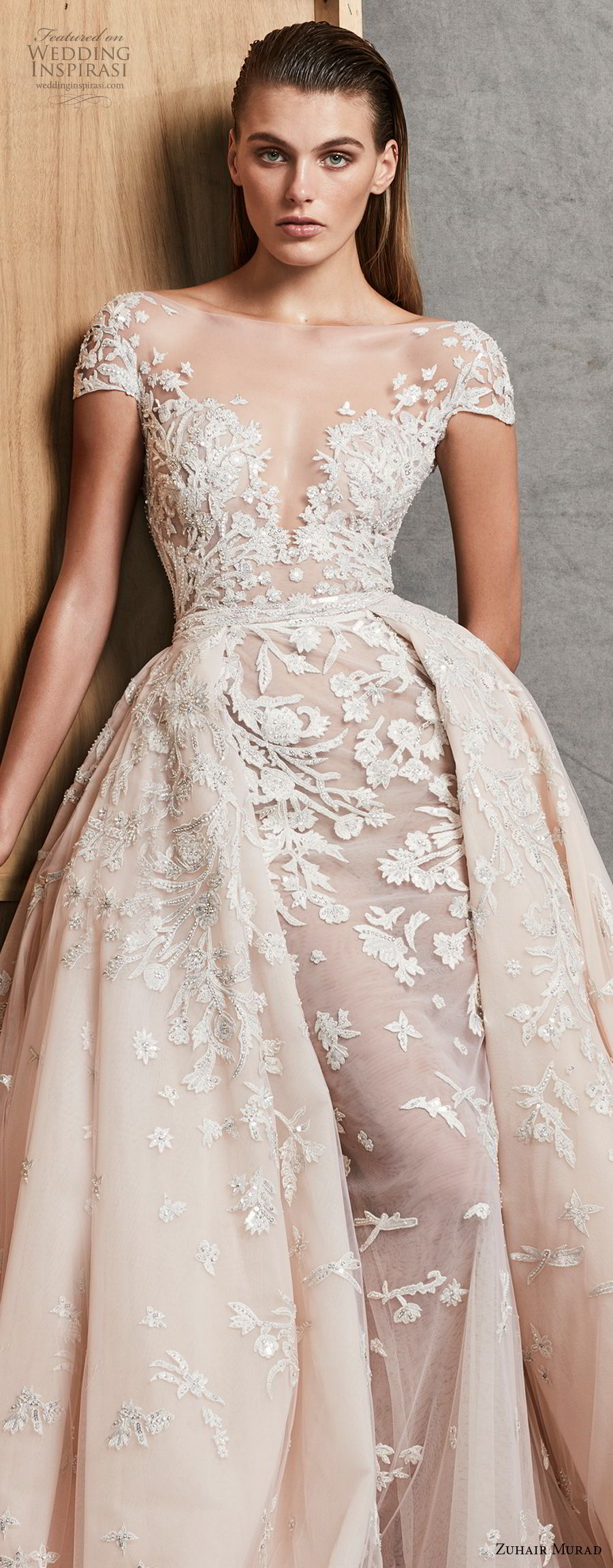 zuhair murad fall 2018 bridal cap sleeves illusion deep sweetheart neckline romantic princess blush fit and flare wedding dress a line overskirt chapel train (15) zv