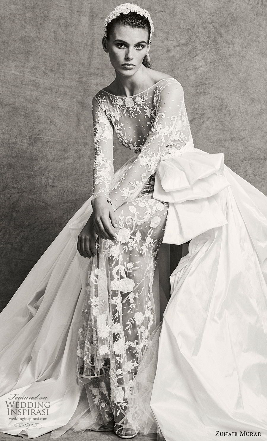 zuhair murad fall 2018 bridal long sleeves bateau neckline full embellishment elegant sexy sheath wedding dress a line overskirt sweep train (1) mv
