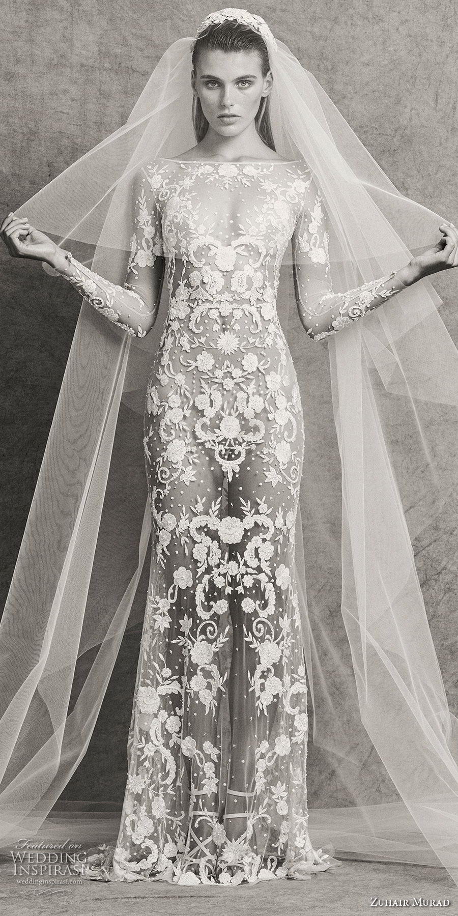 zuhair murad fall 2018 bridal long sleeves bateau neckline full embellishment elegant sexy sheath wedding dress sweep train (1) mv