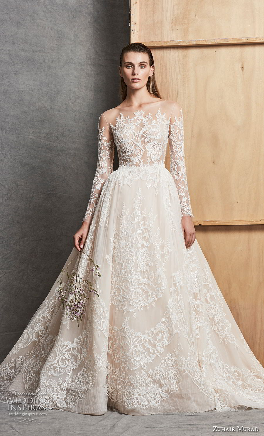 zuhair murad fall 2018 bridal long sleeves illusion bateau full embellishment princess elegant a line wedding dress chapel train (5) mv