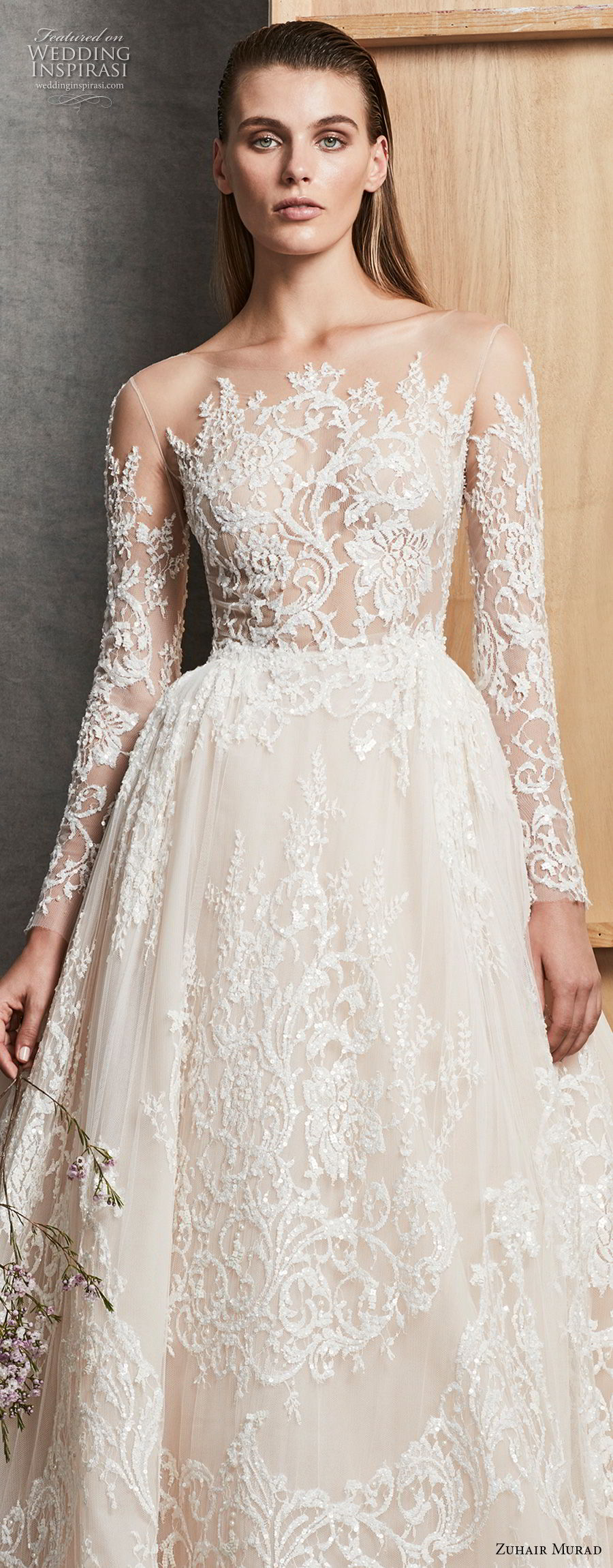 zuhair murad fall 2018 bridal long sleeves illusion bateau full embellishment princess elegant a line wedding dress chapel train (5) zv