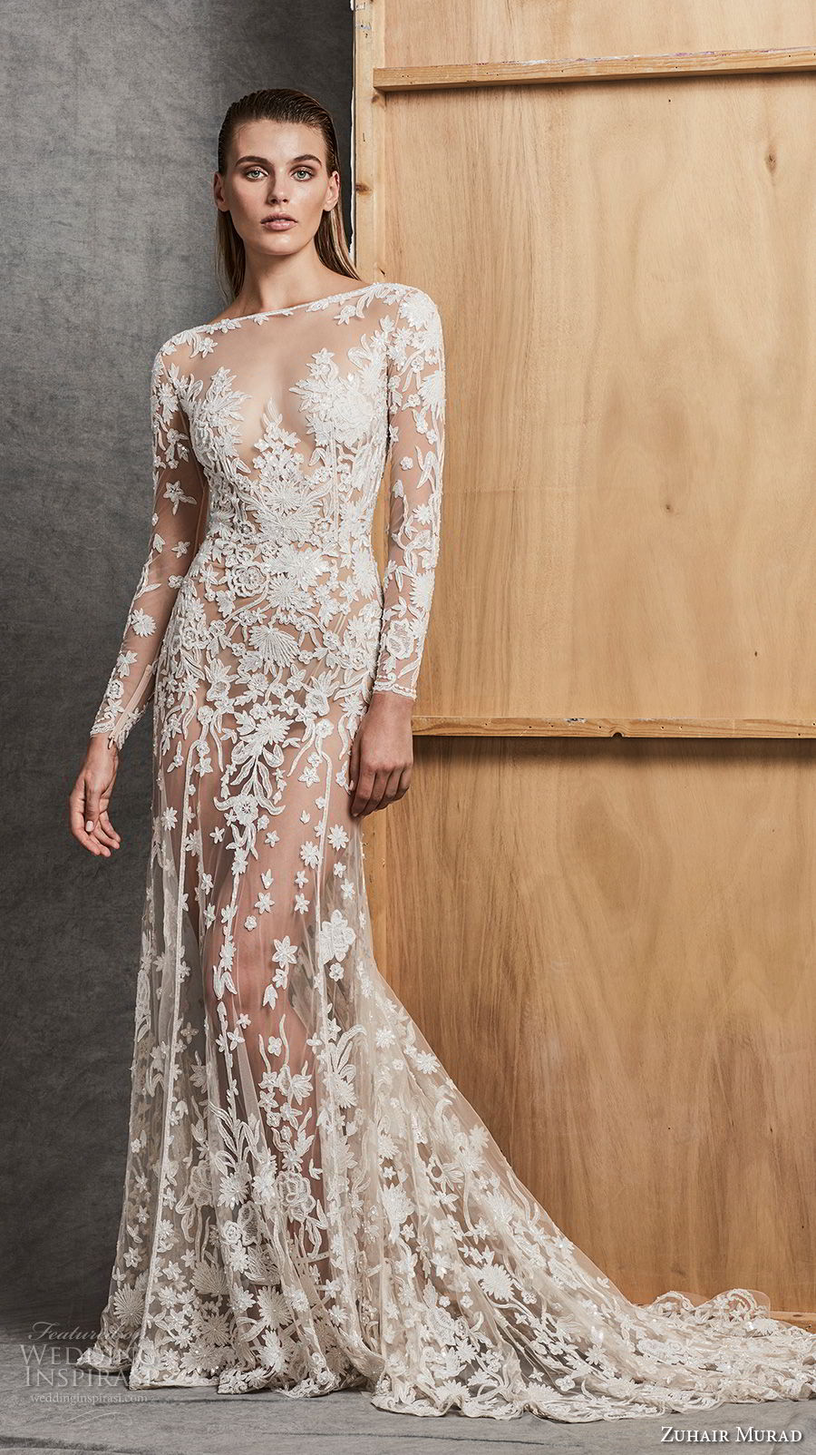 zuhair murad fall 2018 bridal long sleeves illusion bateau sweetheart neckline full embellishment sexy elegant glamorous fit and flare wedding dress chapel train (8) mv