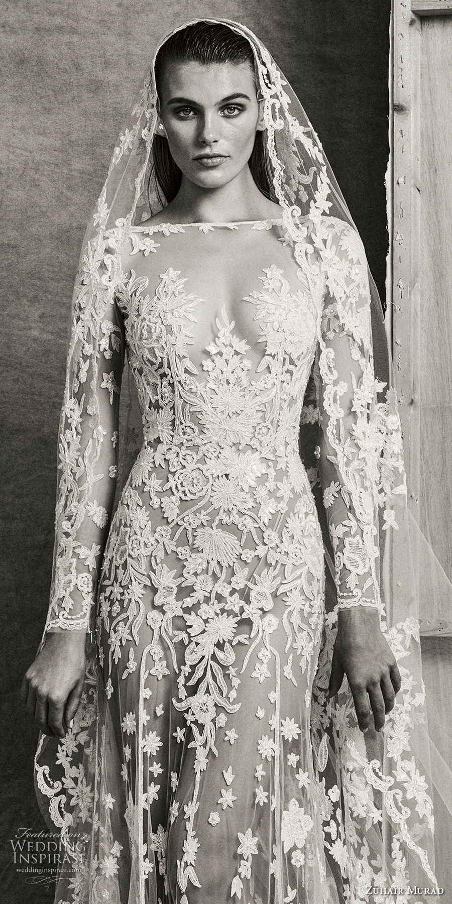 zuhair murad fall 2018 bridal long sleeves illusion bateau sweetheart neckline full embellishment sexy elegant glamorous fit and flare wedding dress chapel train (8) zv
