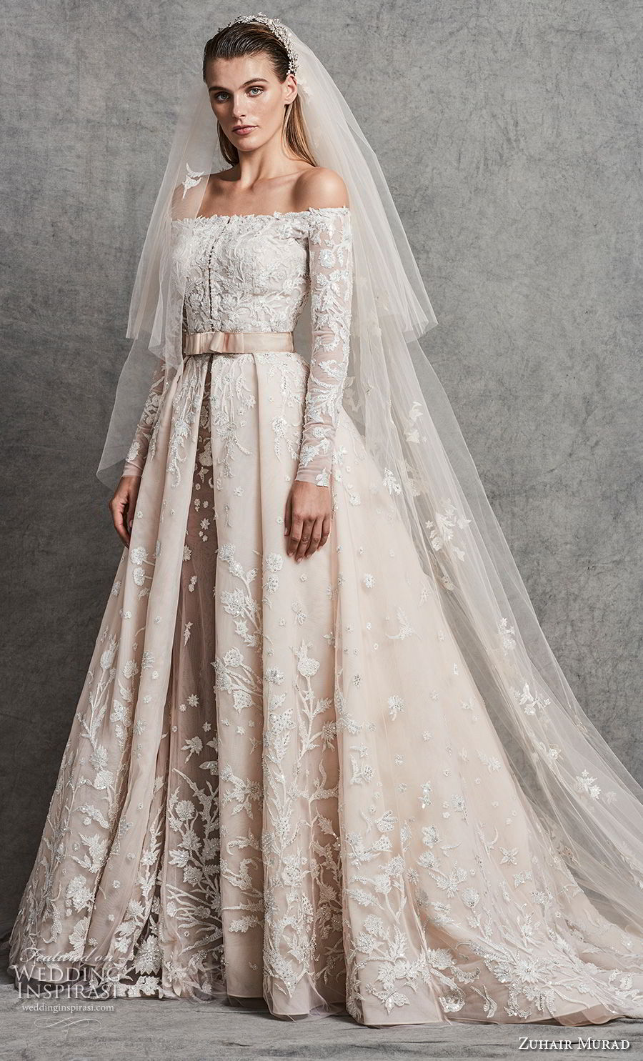 zuhair murad fall 2018 bridal long sleeves off the shoulder straight across neckline heavily embellished bodice romantic princess ivory a line wedding dress chapel train (2) mv