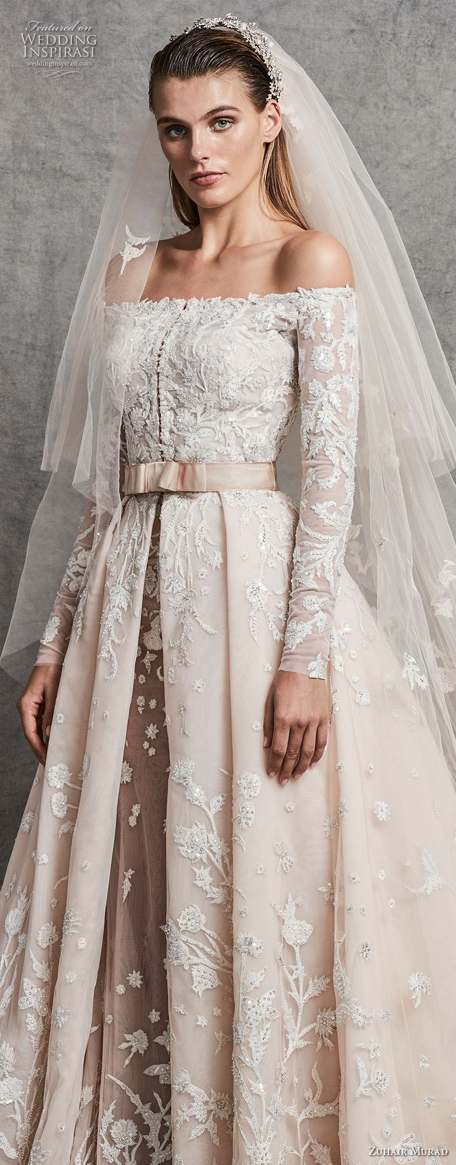 zuhair murad fall 2018 bridal long sleeves off the shoulder straight across neckline heavily embellished bodice romantic princess ivory a line wedding dress chapel train (2) zv