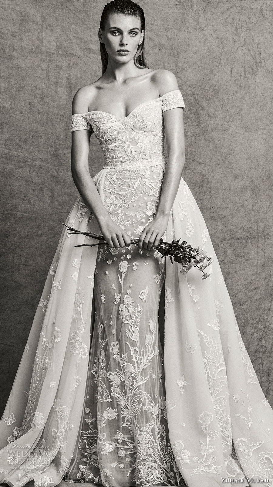 zuhair murad fall 2018 bridal off the shoulder sweetheart neckline full embellishment elegant fit and flare wedding dress sweep train (7) mv