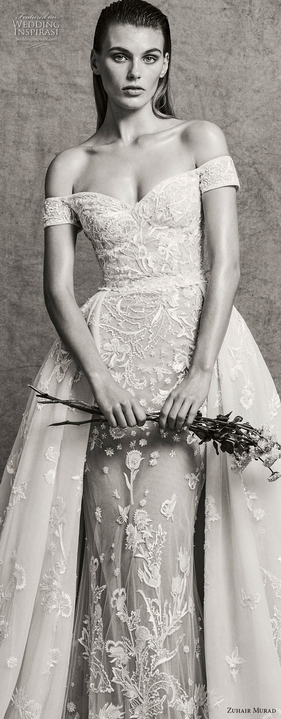 zuhair murad fall 2018 bridal off the shoulder sweetheart neckline full embellishment elegant fit and flare wedding dress sweep train (7) zv