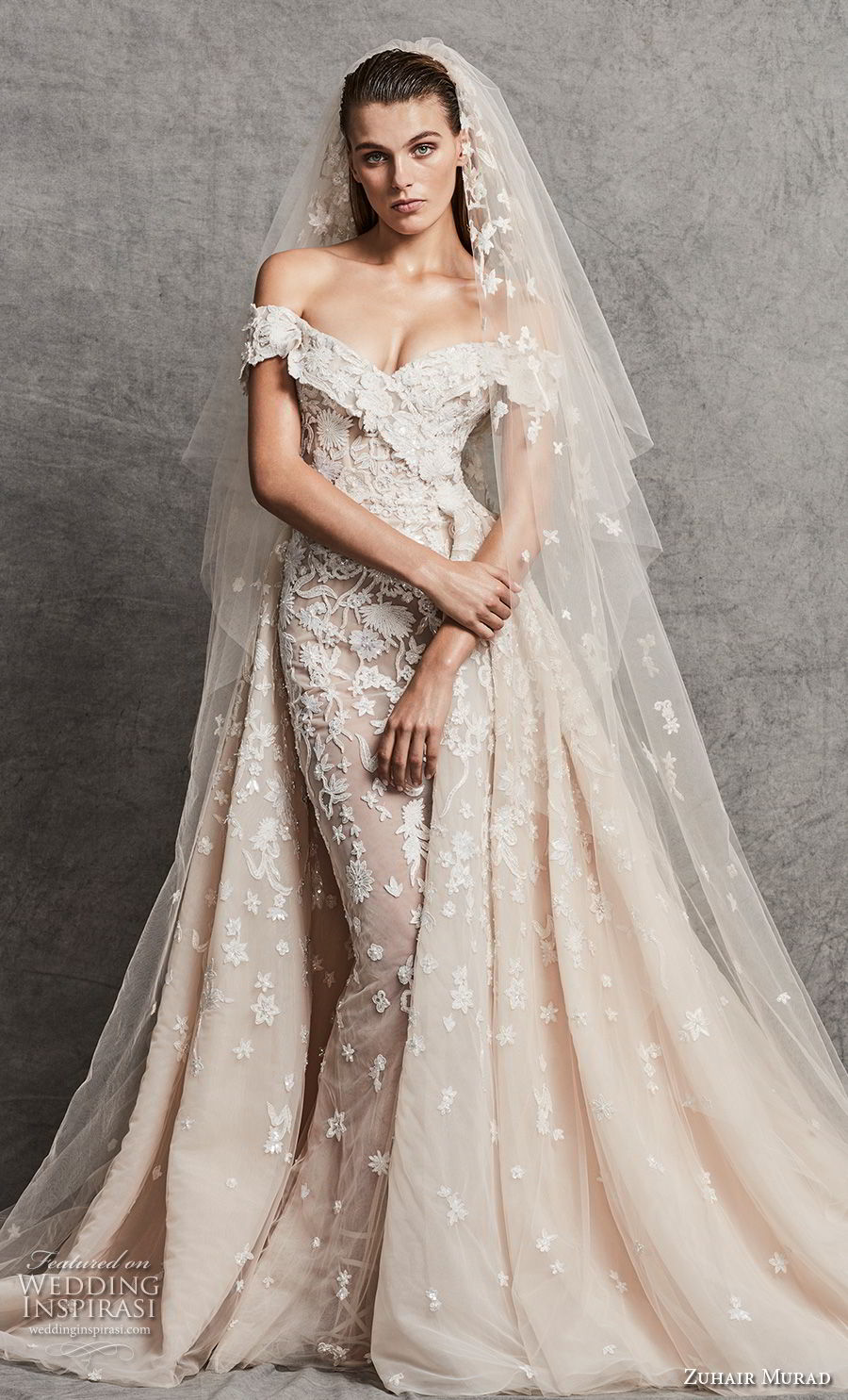 zuhair murad fall 2018 bridal off the shoulder v neck full embellishment elegant fit and flare wedding dress a line overskirt chapel train (10) mv