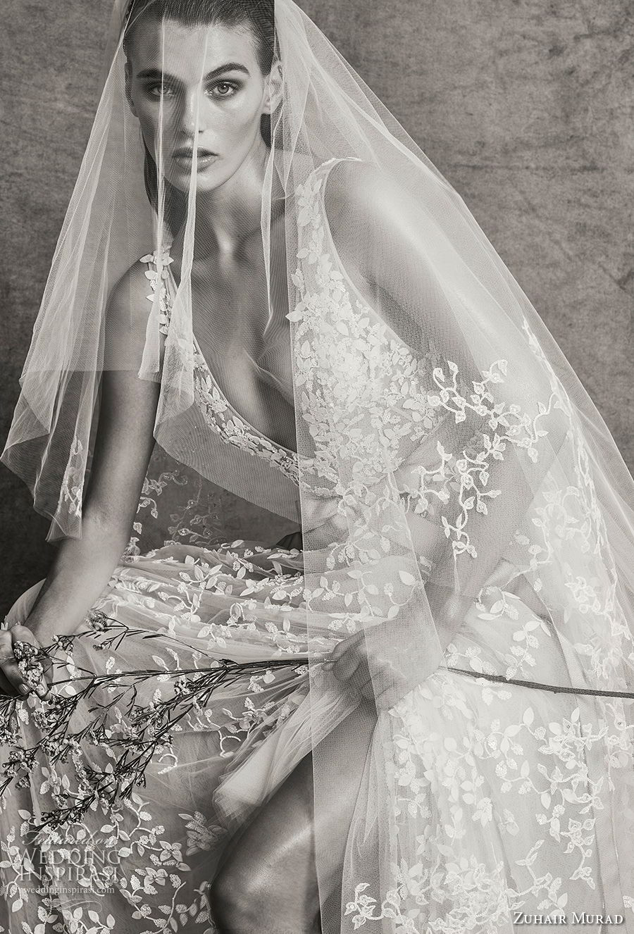zuhair murad fall 2018 bridal sleeveless deep v neck full embellishment slit skirt romantic sexy ivory a line wedding dress (13) zv