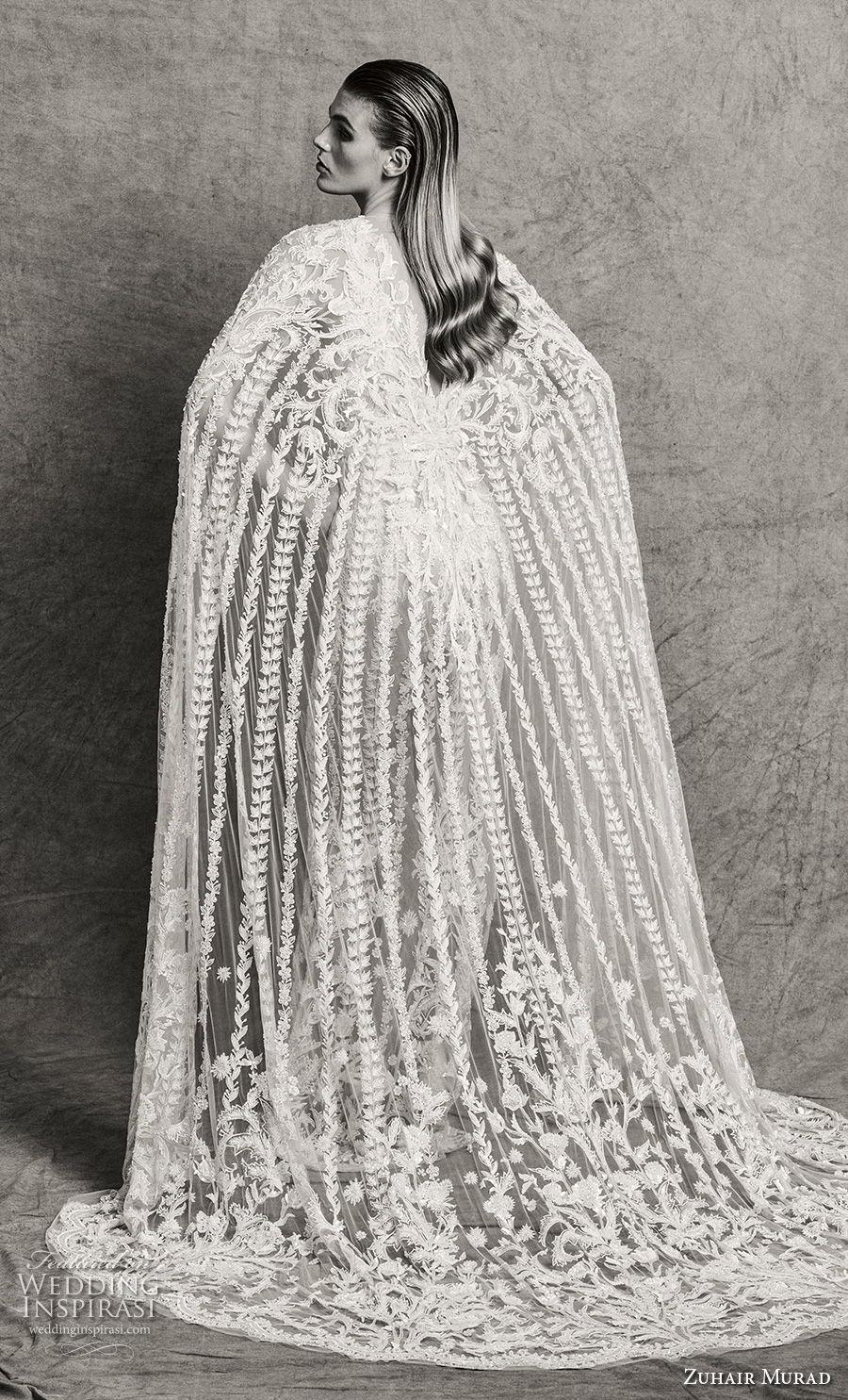zuhair murad fall 2018 bridal sleeveless illusion bateau deep v neck full embellishment glamorous elegant fit and flare sheath wedding dress with cape sweep train (4) bv