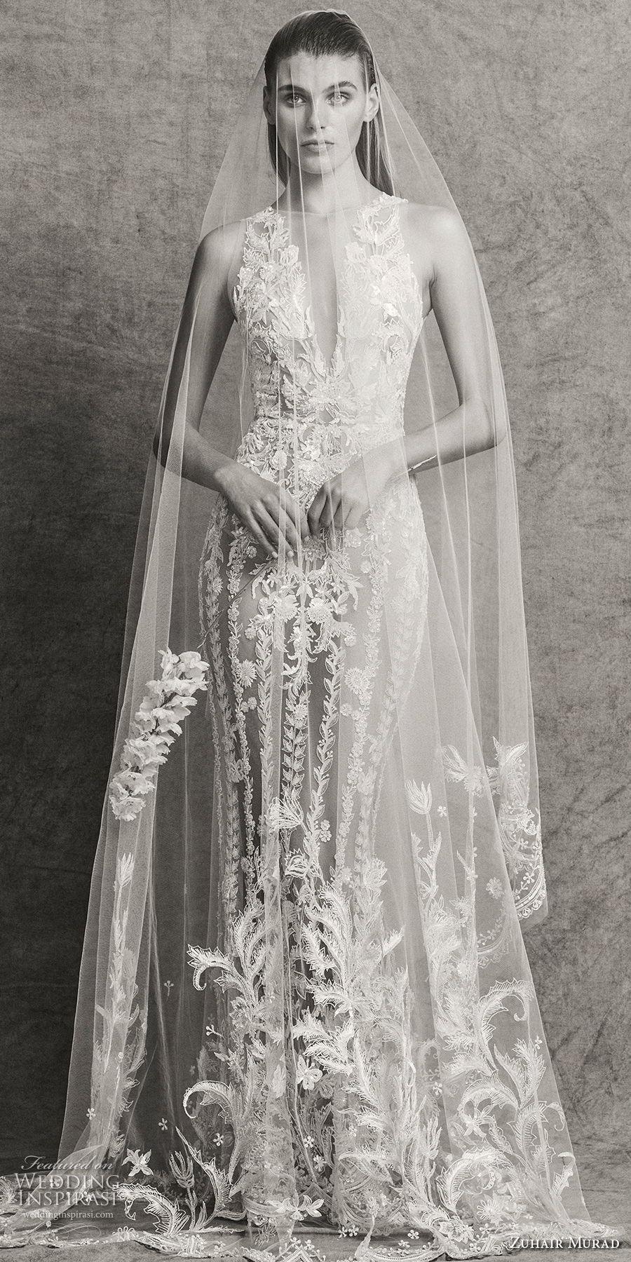 zuhair murad fall 2018 bridal sleeveless illusion bateau deep v neck full embellishment glamorous elegant fit and flare sheath wedding dress with cape sweep train (4) mv