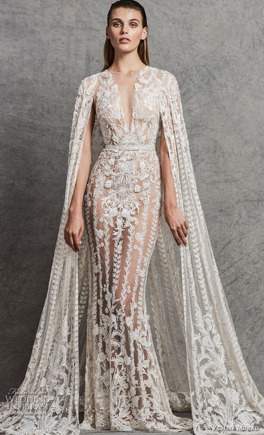zuhair murad fall 2018 bridal sleeveless illusion bateau deep v neck full embellishment glamorous elegant fit and flare sheath wedding dress with cape sweep train (4) mv