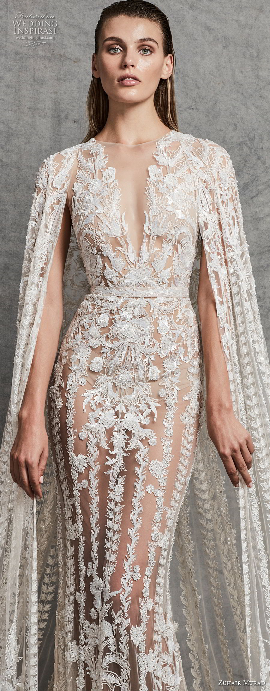 zuhair murad fall 2018 bridal sleeveless illusion bateau deep v neck full embellishment glamorous elegant fit and flare sheath wedding dress with cape sweep train (4) zv
