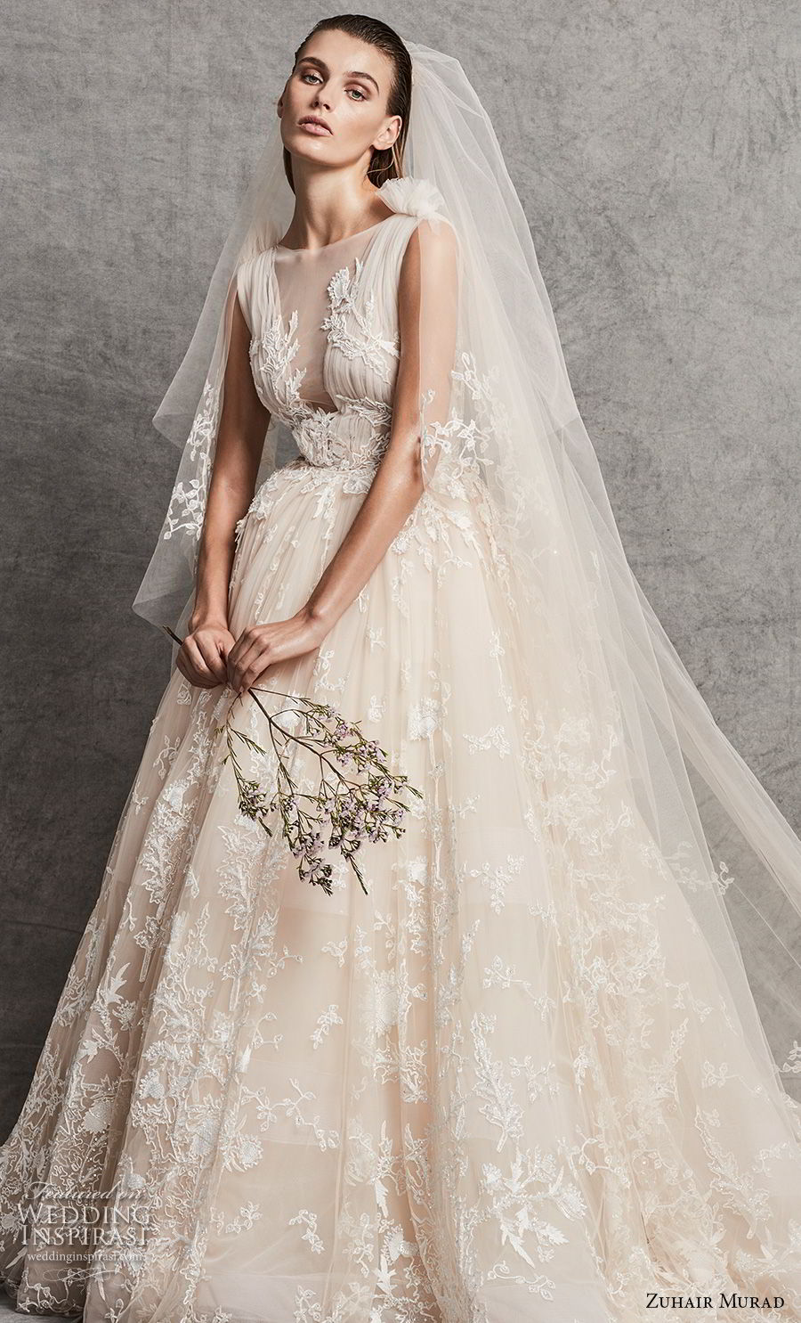 zuhair murad fall 2018 bridal sleeveless illusion bateau v meck full embellishment romantic ivory ball gown wedding dress chapel train (14) mv