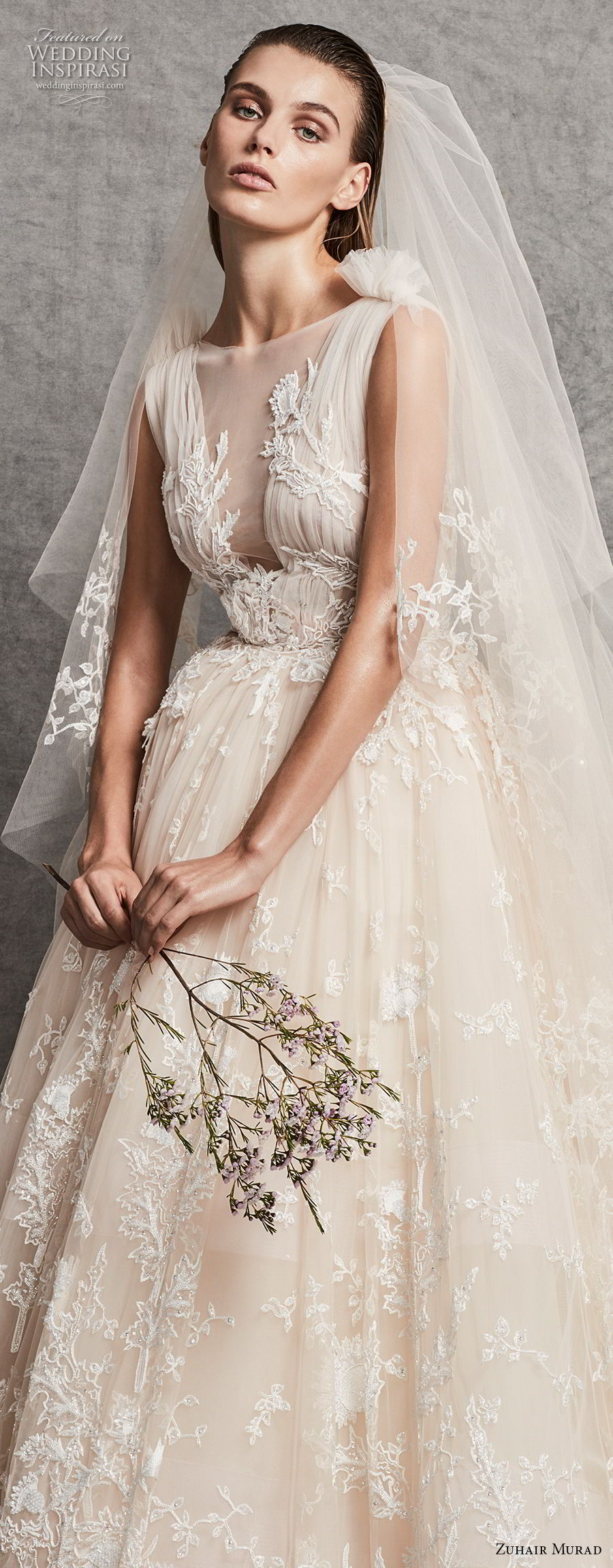 zuhair murad fall 2018 bridal sleeveless illusion bateau v meck full embellishment romantic ivory ball gown wedding dress chapel train (14) zv