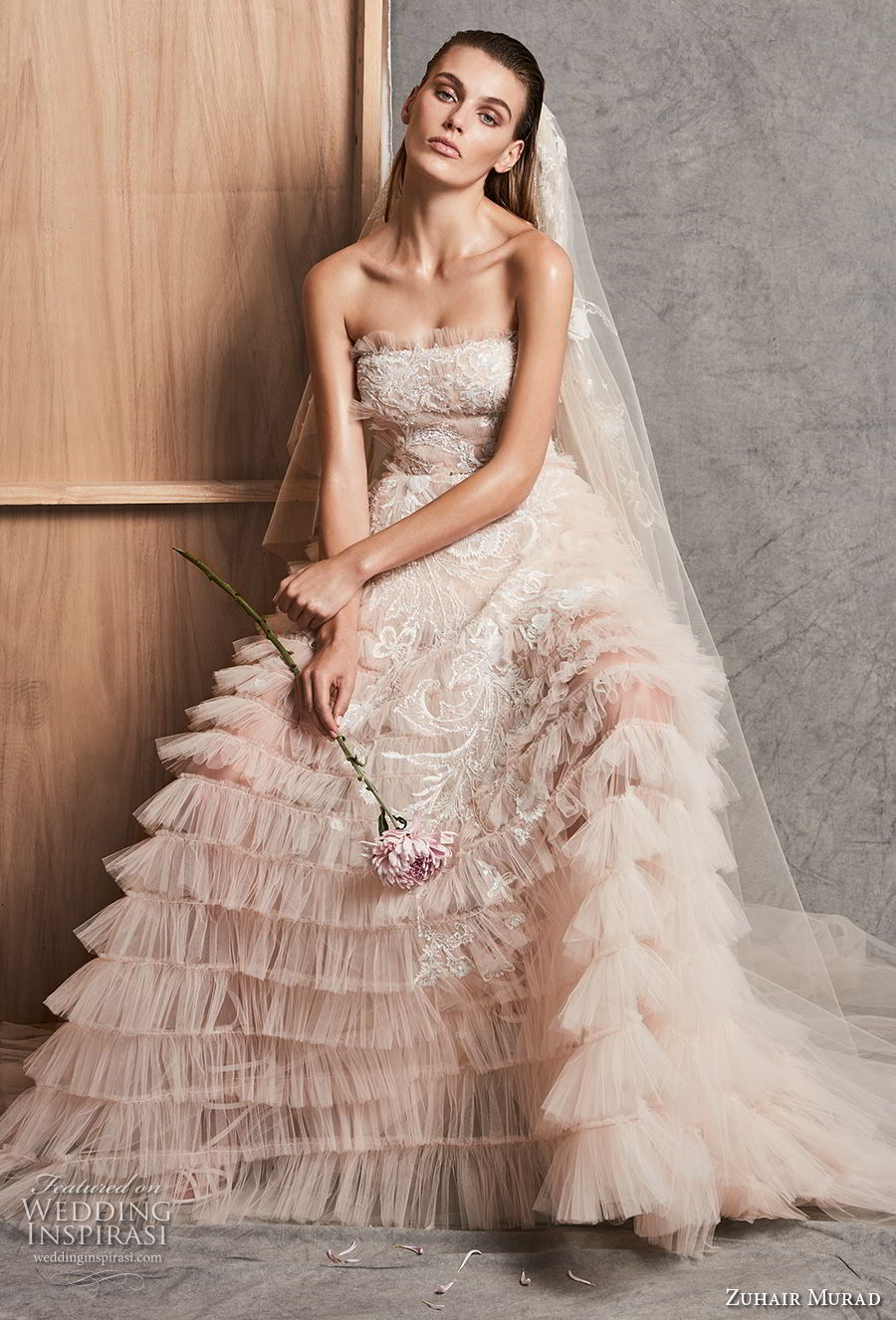 zuhair murad fall 2018 bridal strapless straight across neckline full embellishment tiered skirt romantic blush a line wedding dress chapel train (12) mv