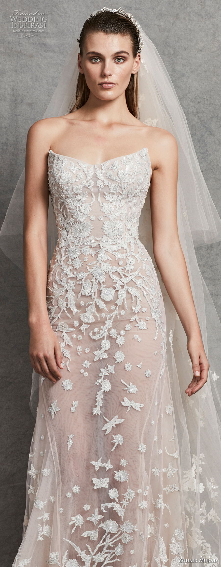 zuhair murad fall 2018 bridal strapless sweetheart neckline full embellishment elegant modified a line wedding dress (3) zv