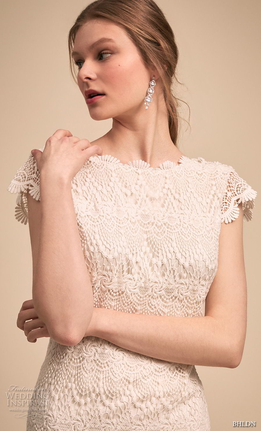 bhldn 2018 bridal cap sleeves bateau neckline full embellishment romantic modified a  line wedding dress v back sweep train (2) zv