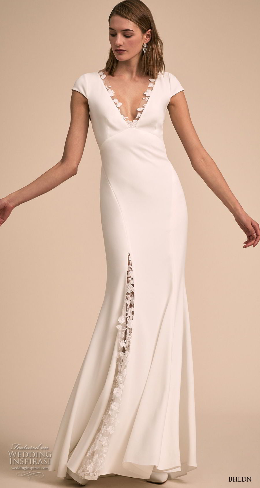 bhldn 2018 bridal cap sleeves v neck elegant simple romantic bohemian sheath wedding dress keyhole back sweep train (13) mv