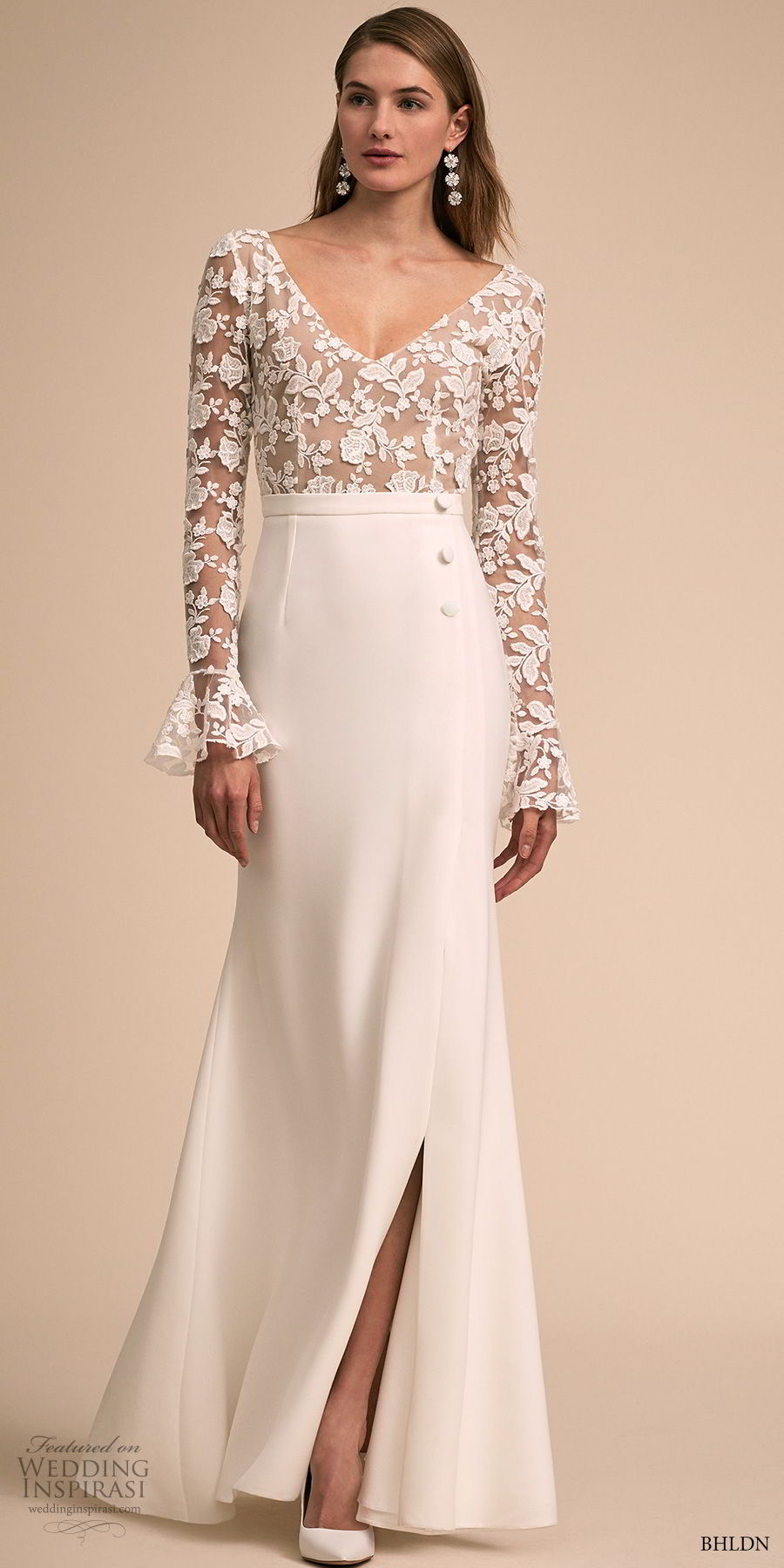 bhldn 2018 bridal long poet sleeves v neck heavily embellished bodice slit skirt elegant modified a  line wedding scoop back dress sweep train (3) mv