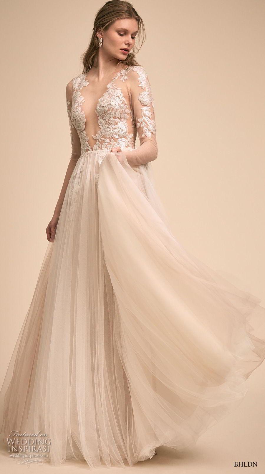 bhldn 2018 bridal long sleeves deep v neck heavily embellished bodice tulle skirt romantic soft a  line wedding dress (5) mv