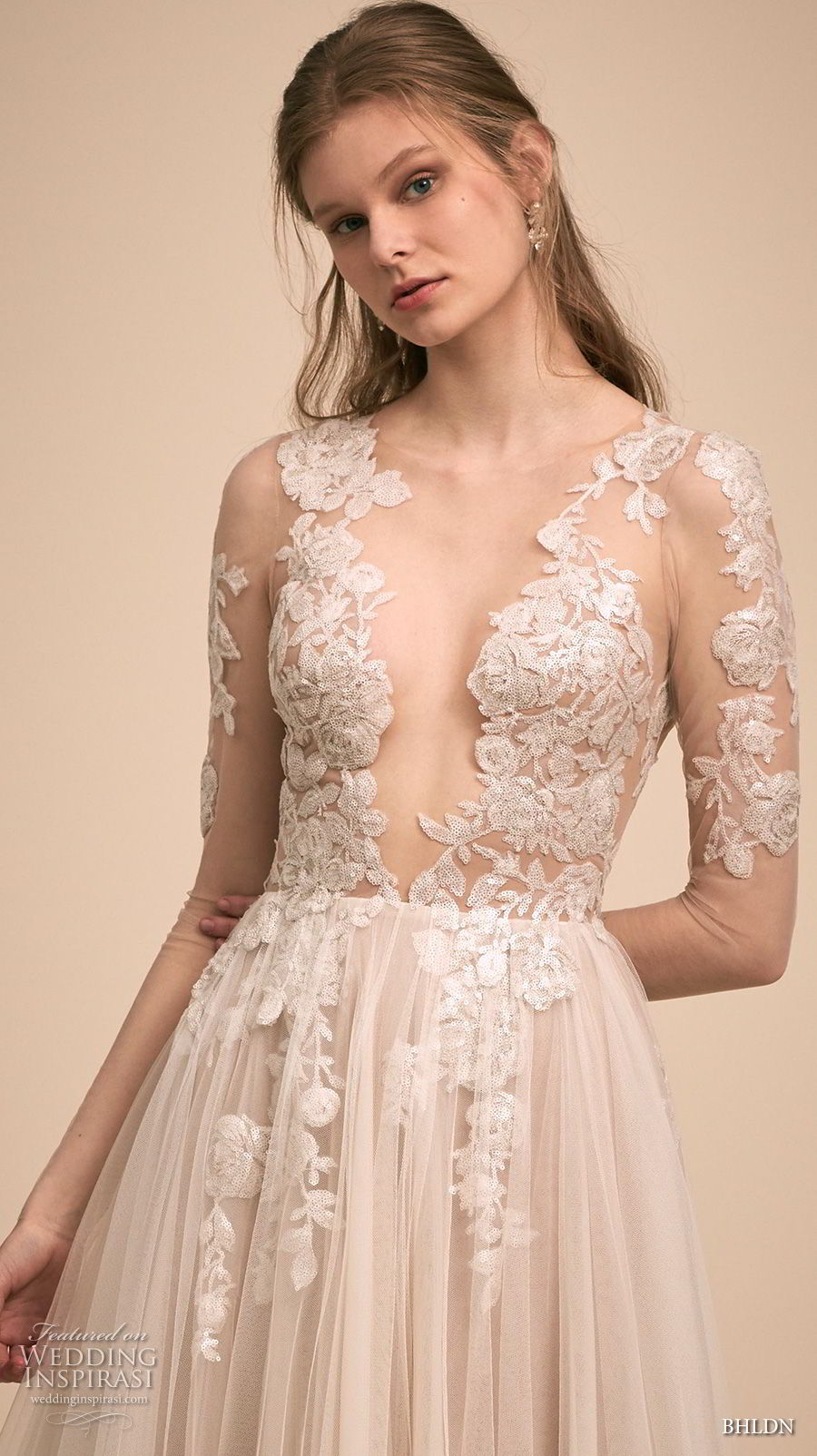 bhldn 2018 bridal long sleeves deep v neck heavily embellished bodice tulle skirt romantic soft a  line wedding dress (5) zv