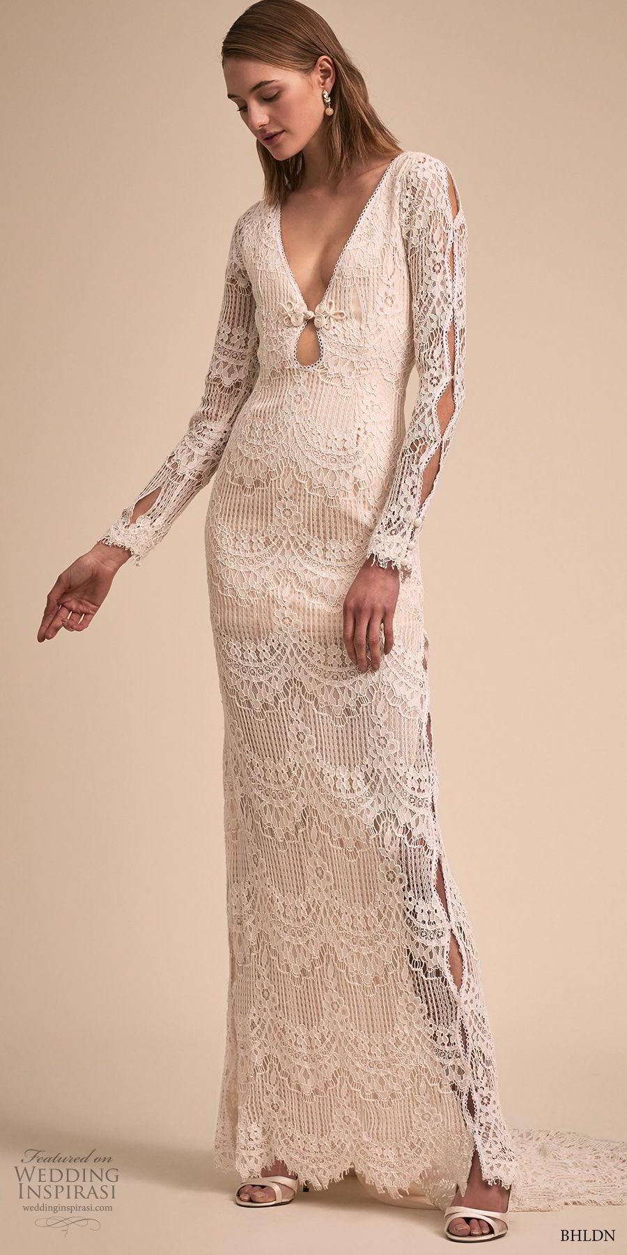 bhldn 2018 bridal long sleeves v neck full embellishment bohemian sheath wedding dress keyhole back short train (1) mv