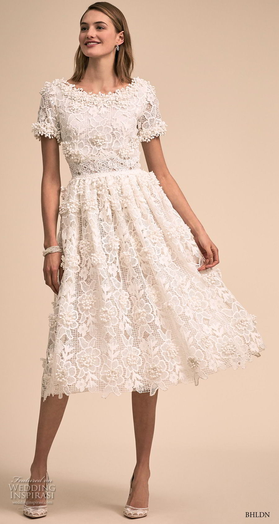 bhldn 2018 bridal short sleeves bateau neck full embellishment romantic tea length short wedding dress (10) mv