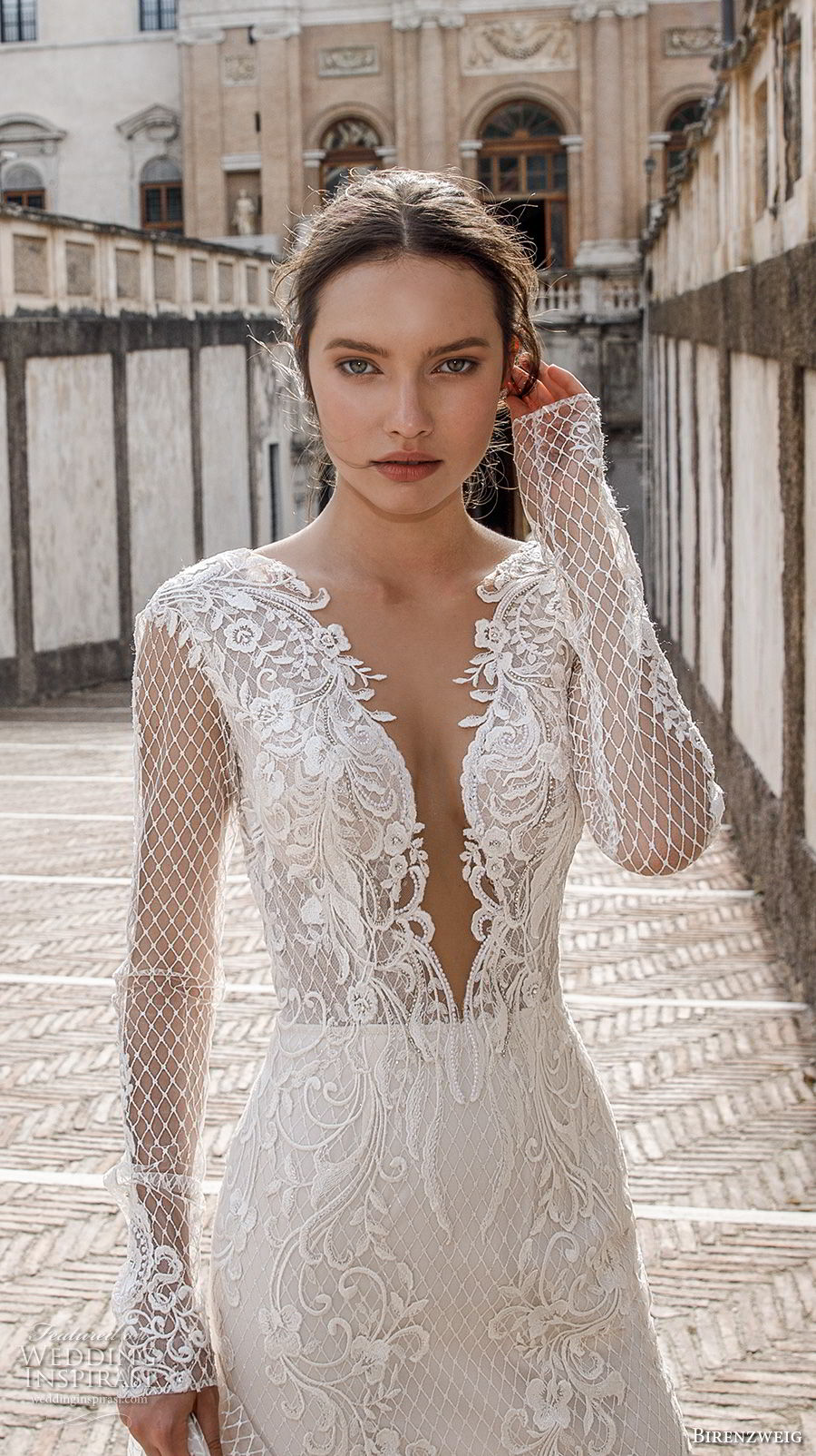 birenzweig 2018 bridal long sleeves deep plunging sweetheart neckline full embellishment elegant sexy fit and flare wedding dress open v back chapel train (11) zv