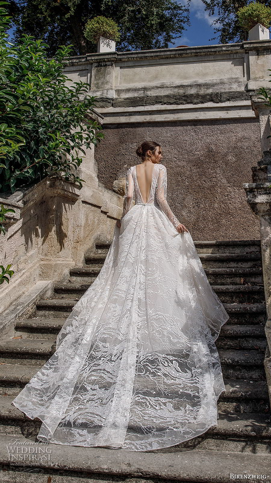 birenzweig 2018 bridal long sleeves deep v neck full embellishment romantic sexy a  line wedding dress open v back royal train (12) bv