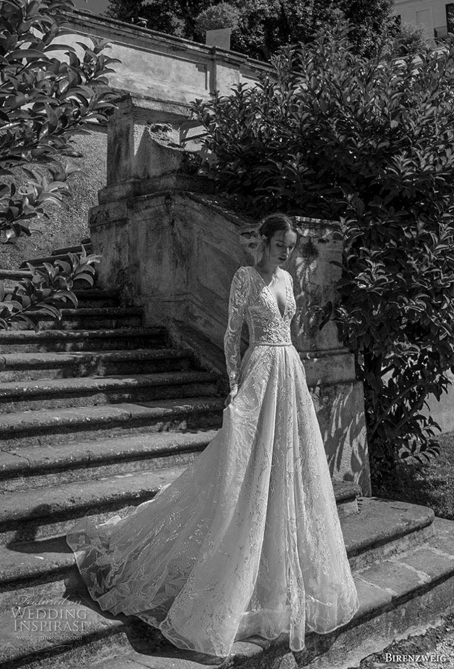 birenzweig 2018 bridal long sleeves deep v neck full embellishment romantic sexy a  line wedding dress open v back royal train (12) mv