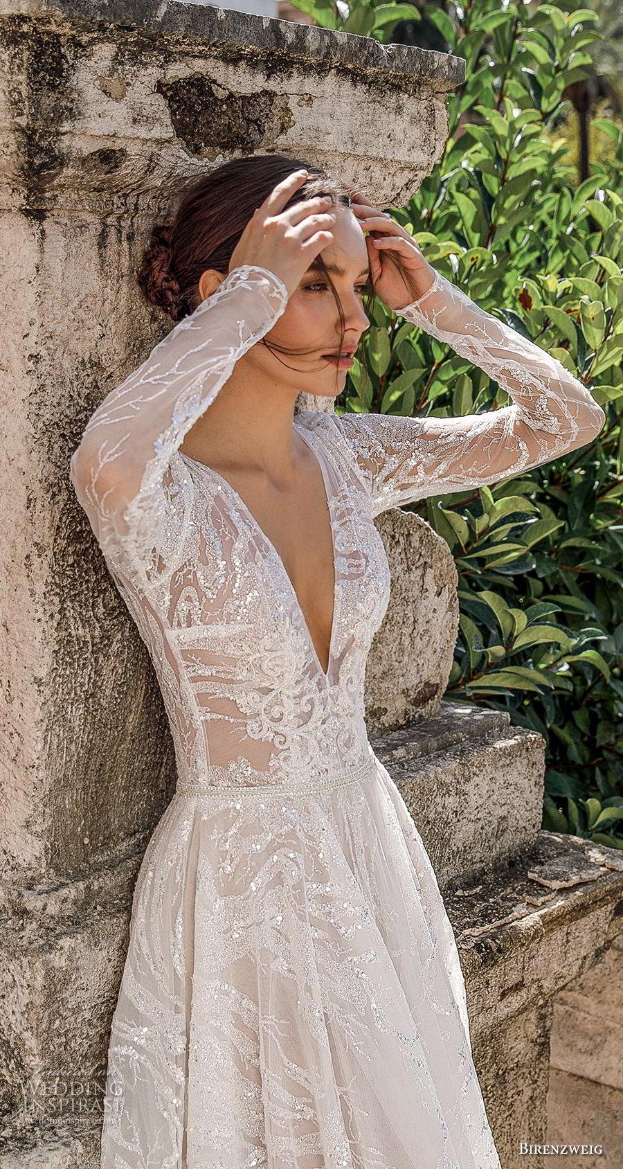 birenzweig 2018 bridal long sleeves deep v neck full embellishment romantic sexy a  line wedding dress open v back royal train (12) zv