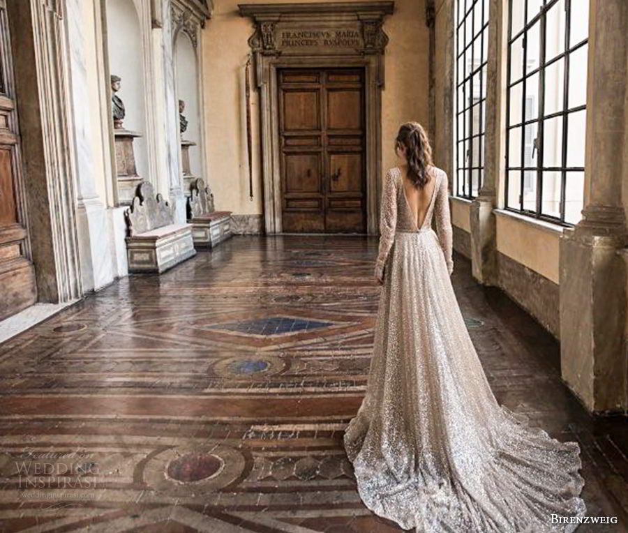 birenzweig 2018 bridal long sleeves deep v neck full embellishment sexy glamorous a  line wedding dress open v back chapel train (5) bv