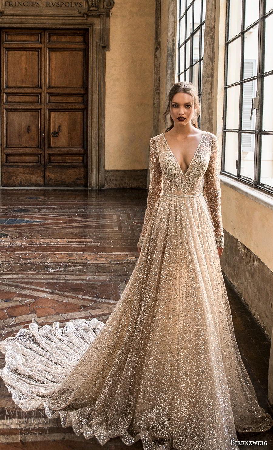 birenzweig 2018 bridal long sleeves deep v neck full embellishment sexy glamorous a  line wedding dress open v back chapel train (5) mv