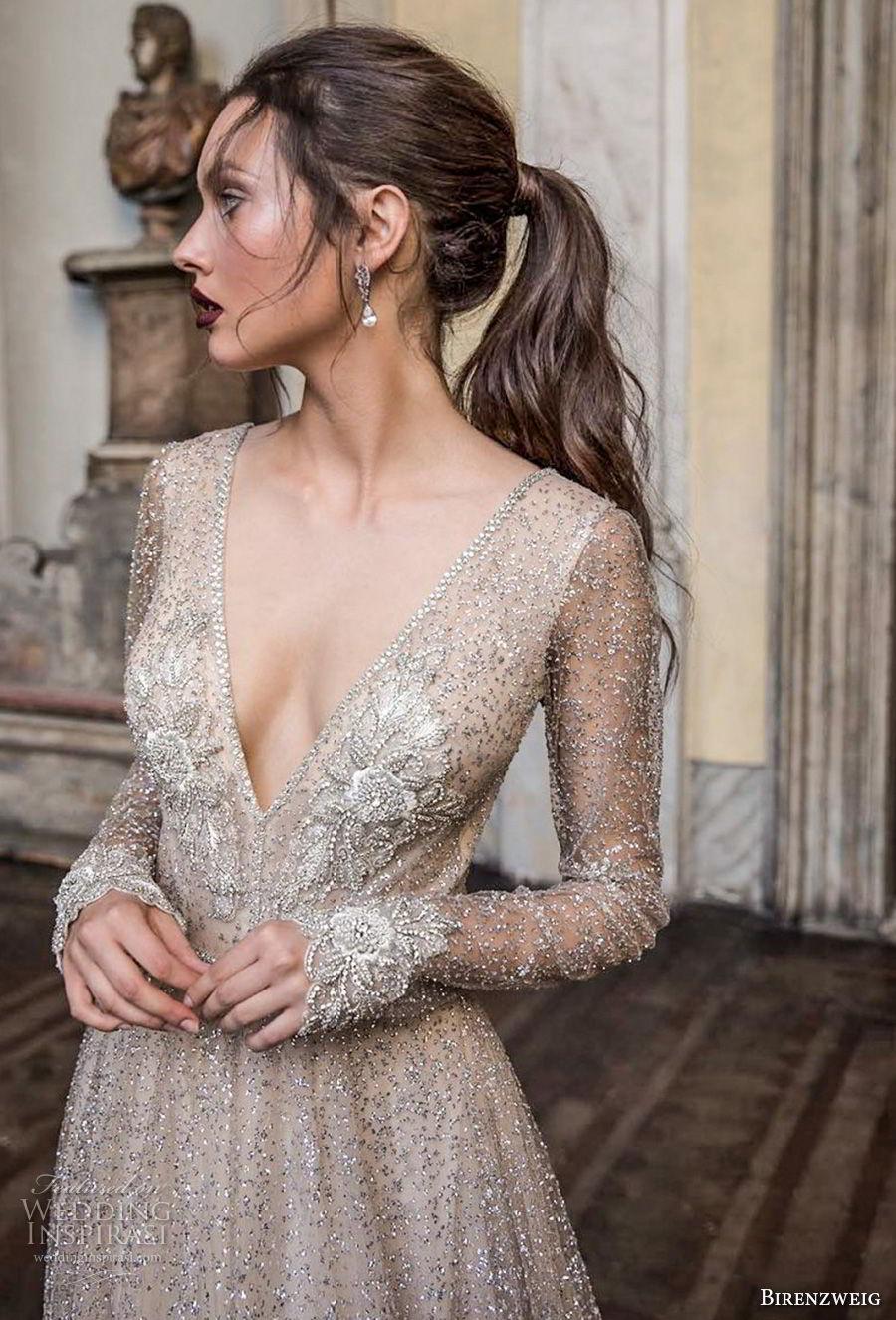 birenzweig 2018 bridal long sleeves deep v neck full embellishment sexy glamorous a  line wedding dress open v back chapel train (5) zv