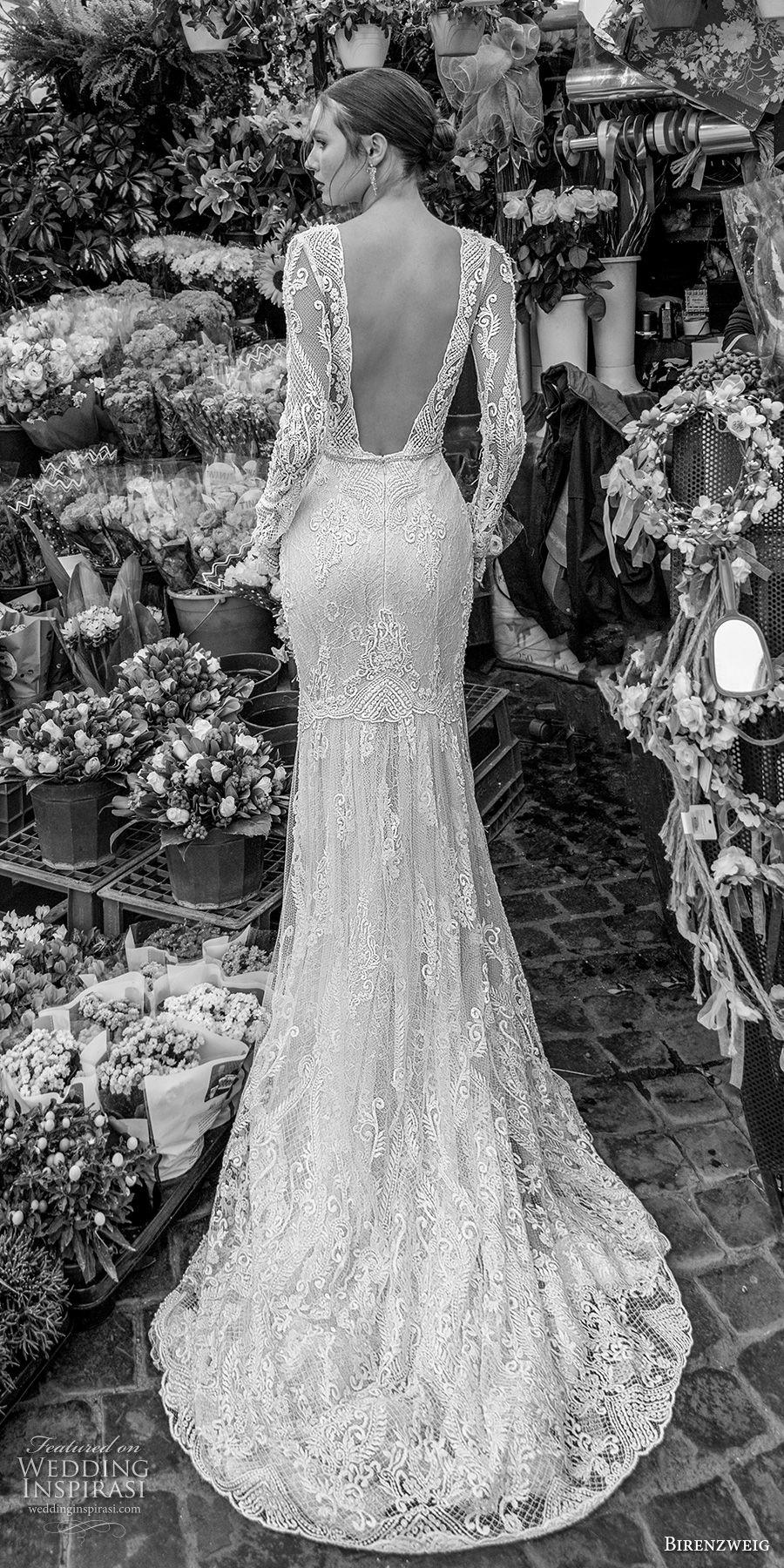 birenzweig 2018 bridal long sleeves illusion bateau neckline full embellishment elegant fit and flare wedding dress open back sweep train (8) bv
