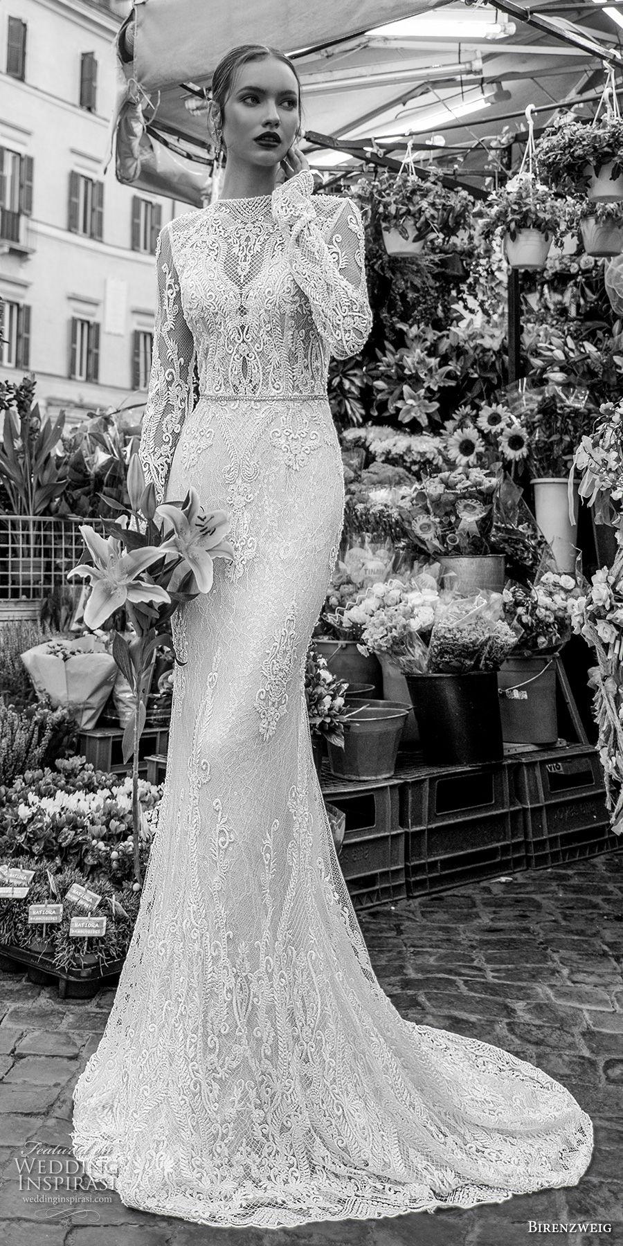 birenzweig 2018 bridal long sleeves illusion bateau neckline full embellishment elegant fit and flare wedding dress open back sweep train (8) mv