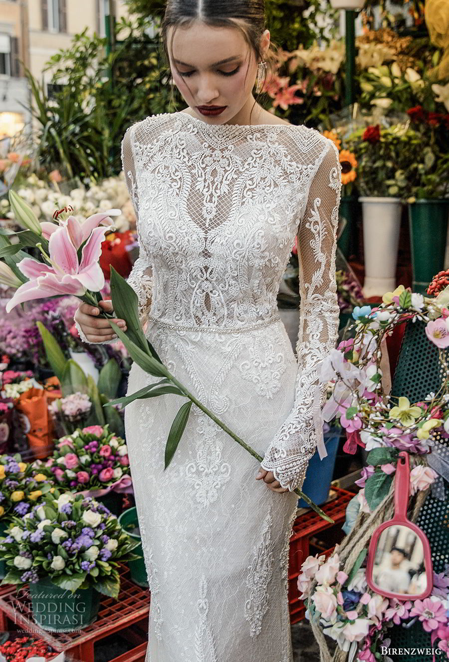 birenzweig 2018 bridal long sleeves illusion bateau neckline full embellishment elegant fit and flare wedding dress open back sweep train (8) zv