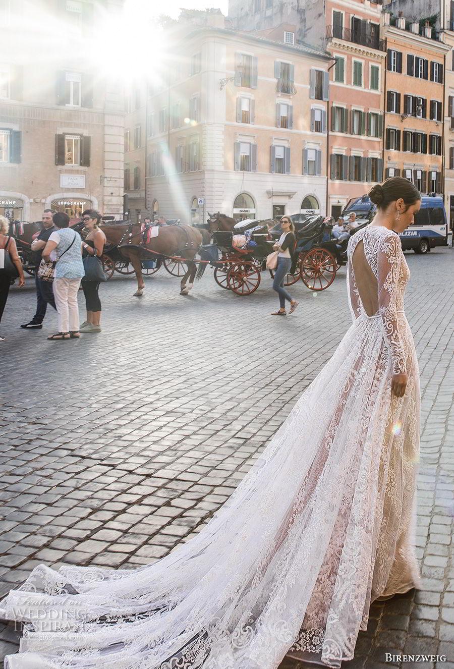 birenzweig 2018 bridal long sleeves jewel neck full embellishment elegant a  line wedding dress keyhole backup chapel train (2) bv