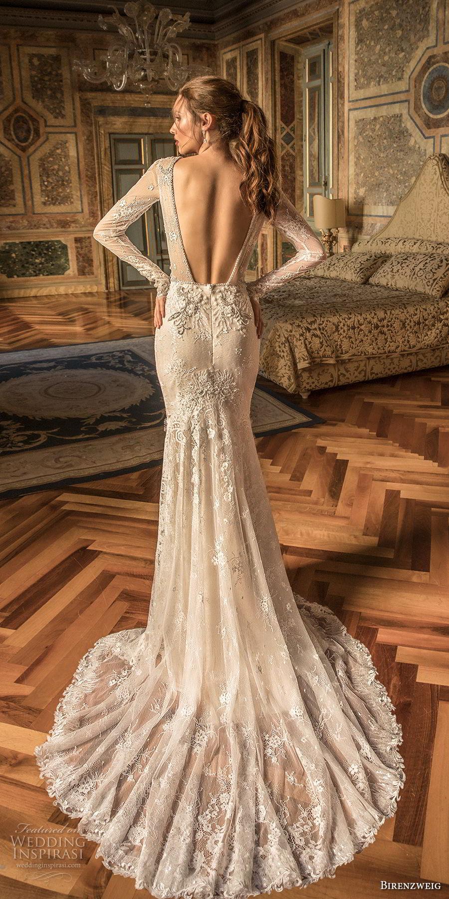 birenzweig 2018 bridal long sleeves jewel neck full embellishment side slit skirt elegant fit and flare wedding dress open back short train (7) bv